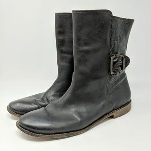 Frye Brown Flat Leather Calf Boots